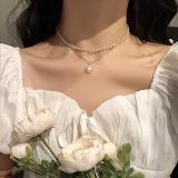 韩国网红复古ins简约双层珍珠项链女潮锁骨链短款颈带脖子饰品