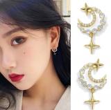 S925银针韩国新款潮简约对称水钻月亮星星女耳钉