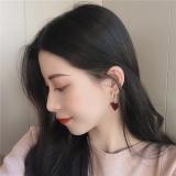 S925银针韩国气质复古红色爱心网红新款潮高级感气质个性耳钉