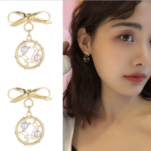 S925银针韩国可爱仙气蝴蝶结超仙捕梦甜美珍珠时尚耳钉