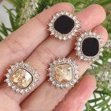S925银针韩国时尚2020年新款潮网红气质简复古方形水钻宝石耳钉