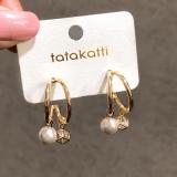 S925银针韩国珍珠锆石网红高级感小众水晶巴洛克气质耳钉