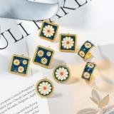 S925银针韩国复古小众设计感简约小雏菊夏气质精致油画花朵耳钉