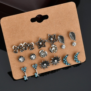 欧美个性潮流蝴蝶结月亮花朵钥匙叶子星星耳钉套装组合
