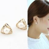 S925银针韩国可爱优雅珍珠镂空三角形几何小巧简约耳钉