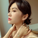 S925银针韩国精致复古流苏方块锆石高级感气质长款小众耳钉耳饰女