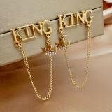 S925银针韩国字母KING个性皇冠流苏气质高级感网红耳钉