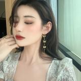 S925银针韩国立体金色蝴蝶流苏高级感新款气质长款网红耳钉耳饰女