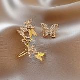 S925银针韩国个性设计感不对称蝴蝶新款时尚超仙耳钉耳饰耳骨夹