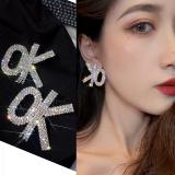 S925银针韩国个性OK字母新款网红气质高级感满钻耳饰耳钉女