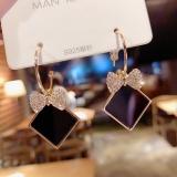 S925银针韩国气质个性高档黑色几何方块水钻蝴蝶结方块锆石耳钉耳环