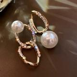 S925银针韩国镶钻不对称链条珍珠轻奢气质网红个性耳钉耳饰女