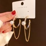 S925银针韩国几何圆圈珍珠镶钻气质长款链条流苏耳钉耳环耳饰
