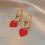 S925银针韩国红色爱心新款长款气质网红小巧可爱耳钉耳环女