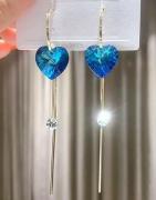 【5-8左右】S925银针韩国创意新款复古长款流苏蓝色奥地利水晶爱心简约耳钉耳环