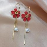 S925银针韩国珍珠花朵红色流苏2020年新款潮百搭气质长款耳钉耳环