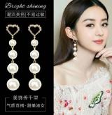S925银针韩国珍珠网红气质超仙精致夸张长款耳钉耳饰