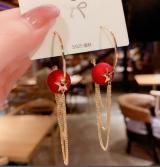 S925银针韩国高级感珍珠气质网红长款流苏红珠个性耳环耳饰品