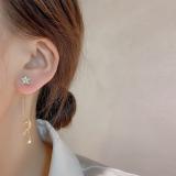 S925银针韩国长款星星月亮锆石个性百搭超仙新款气质耳钉耳饰女