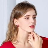 S925银针中国风京剧脸谱2021年新款秋冬红色喜庆过年耳钉耳饰