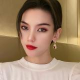 韩国时尚猫眼石闪钻钱袋网红气质复古宫廷耳环耳饰