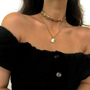 欧美金色合金贝壳简约民族风多层项饰锁骨链项链【银色】