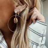 欧美新款海星贝壳耳环眼睛金色贝壳大耳圈套装耳钉