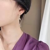 S925银针韩国小猫小鱼不对称气质网红小众个性长款耳钉耳环女