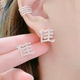 S925银针中国风汉字佳佳个性小巧满钻气质网红耳钉耳饰女