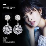 S925银针韩国个性时尚闪亮后挂式3克拉锆石闪耀耳钉女