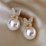 S925银针韩国镶钻蝴蝶珍珠高级感气质简约小众设计耳钉耳饰