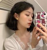 S925银针韩国奶酪黄爱心撞色简约小巧高级感可爱耳钉女
