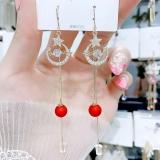 S925银针韩国红色镶钻星月珍珠网红长款气质流苏超仙耳线耳饰