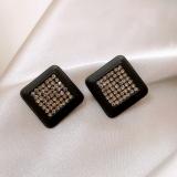 S925银针韩国黑色方块秋冬复古网红2021年新款耳钉耳饰女