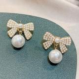 S925银针韩国新款潮珍珠气质网红高级感法式耳钉耳饰女
