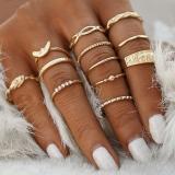 欧美关节戒指套装复古镶钻十二个组合缠绕打结雕花12件套装戒指