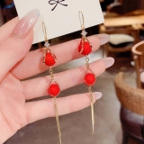 韩国水滴流苏时尚百搭网红气质珍珠红色耳环女