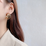 S925银针韩国三层光面金属大圆圈夸张复古耳扣耳钉女