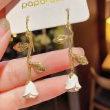 韩国复古设计感艺术白玫瑰花高级感滴油气质耳钉耳饰品