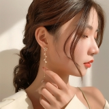 S925银针韩国长款小花朵新款猫眼石流苏气质耳钉女