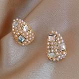 S925银针韩国镶钻珍珠水滴小清新简约百搭气质网红耳钉耳饰女