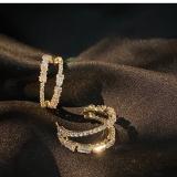 【真金电镀】S925银针韩国锆石镶嵌气质耳环时尚金属风创意耳环