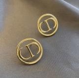 【真金电镀】s925耳环银欧美个性圆环字母耳饰