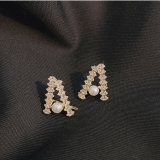 【真金电镀】S925韩国珍珠耳钉女简约小巧一字微镶设计耳环冷淡风耳饰潮