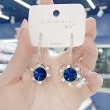 【真金电镀】S925银针新款蓝色水晶几何镂空花耳环满钻个性耳坠