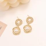 【真金电镀】S925银针韩国东大门几何金属珍珠耳环甜美气质网红耳饰女