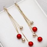 【真金电镀】S925韩国时尚高级感猫眼石红色珍珠流苏气质轻奢耳钉耳饰女