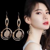 【真金电镀】S925韩国时尚设计感几何圆圈耳环夸张气质显脸瘦耳勾耳饰