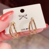 【真金电镀】S925银针韩国镶钻几何环形耳圈设计网红时尚复古百搭耳钉耳环