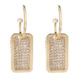 【真金电镀】S925银针韩国简约风气质轻奢满钻方形网红耳钉耳环